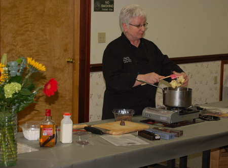 Bev Shaffer, author of <i>Brownies to Die For,</i> cooking demonstration.